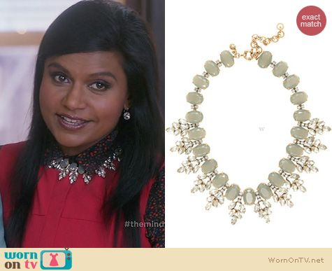 Mindy Project Jewelry: J. Crew Crystal Leaves Necklace worn by Mindy Kaling