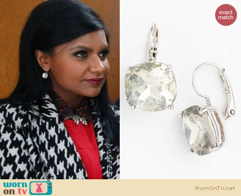 The Mindy Project Jewelry: Kate Spade Boxed Drop Crystal Earrings worn by Mindy Kaling