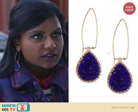 The Mindy Project Jewelry: Rachel Roy Drusy Linear Drop Earrings worn by Mindy Kaling