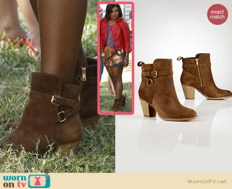 The Mindy Project Shoes: Ralph Lauren Oiled Suede Macie Booties worn by Mindy Kaling