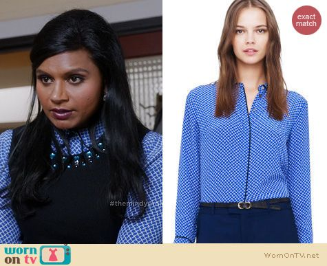 The Mindy Project Style: Club Monaco Danica Shirt worn by Mindy Kaling