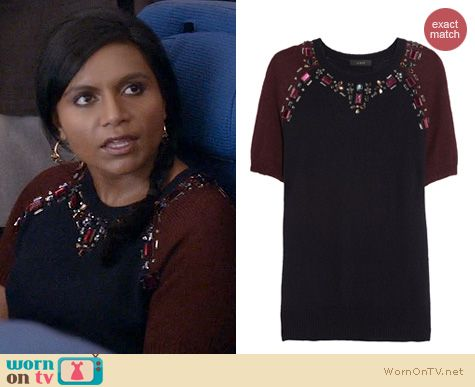 The Mindy Project Style: J. Crew Jewelled Sweater Tee worn by Mindy Kaling