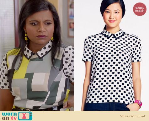 The Mindy Project Style: Kate Spade Sierra Top in New York Apple worn by Mindy Kaling
