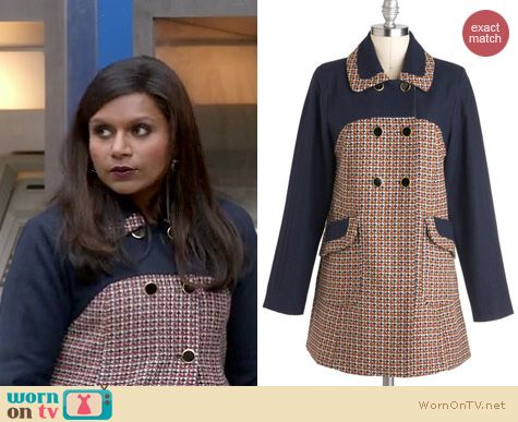 The Mindy Project Style: ModCloth My Tweed Lady coat worn by Mindy Kaling