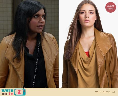 The Mindy Project Style: Vince Leather Scuba Jacket worn by Mindy Kaling