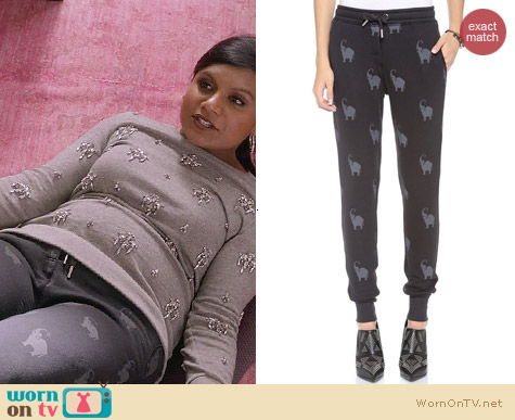 The Mindy Project Style: Zoe Karssen Elephant All Over Sweatpants worn by Mindy Kaling