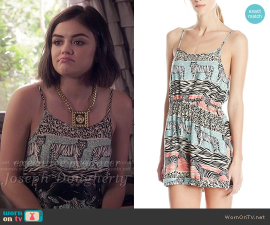 MinkPink Animal Stripe Romper worn by Lucy Hale on PLL