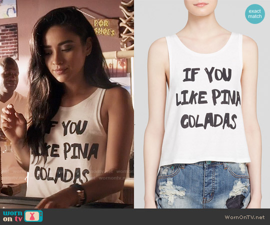 MinkPink Pina Coladas Tank worn by Shay Mitchell on PLL