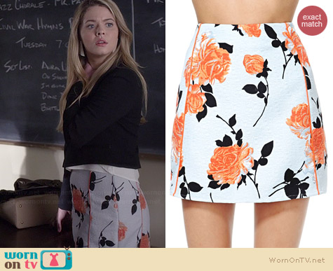 MinkPink Queen's Garden Skirt worn by Sasha Pieterse on PLL