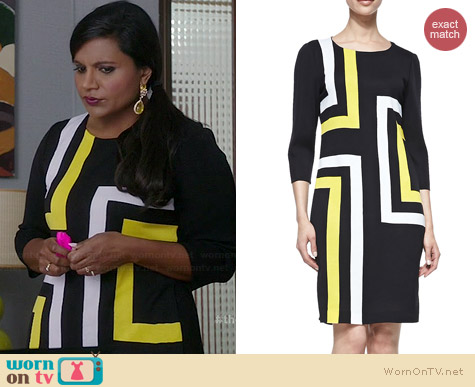 Misook Graphic Lines Dress worn by Mindy Kaling on The Mindy Project