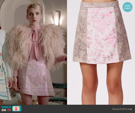 Missguided Jarvine Contrast Rose Brocade A-Line Skirt worn by Chanel Oberlin on Scream Queens