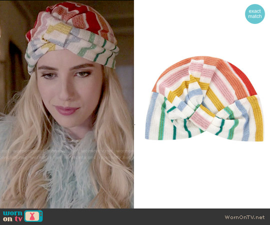 Missoni Mare Striped Greek Knit Turban worn by Emma Roberts on Scream Queens