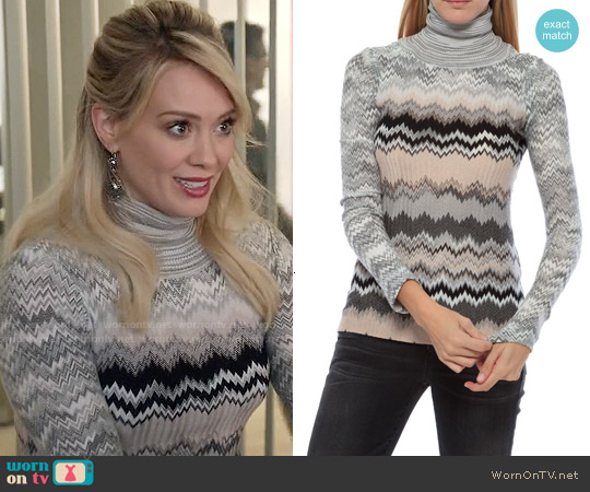 Missoni Zig Zag Knit Turtleneck Sweater worn by Hilary Duff on Younger