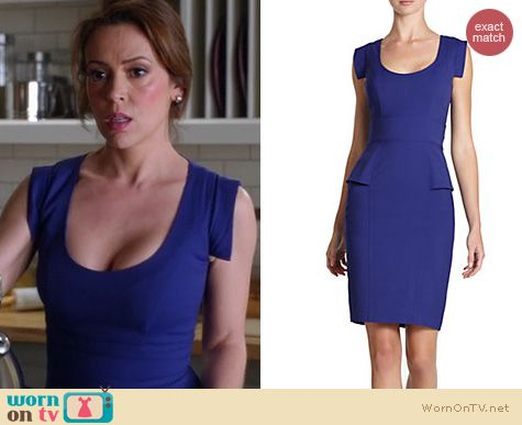 Mistresses Fashion: French Connection Reigning Peplum dress worn by Alyssa Milano