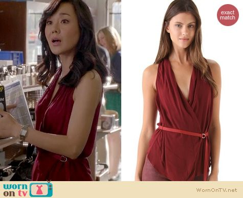 Mistresses Fashion: Helmut Lang Delta Overlap Belted blouse worn by Yunjin Kim