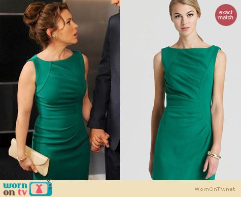 Mistresses Fashion: Milly Green wool sheath dress worn by Alyssa Milano