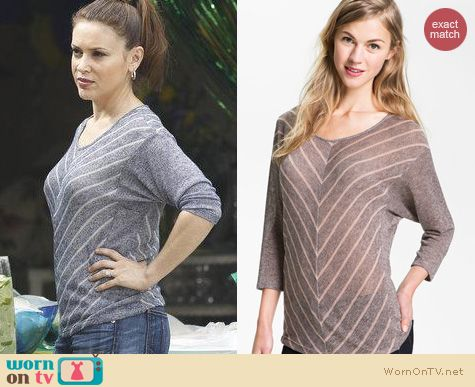 Mistresses Fashion: Olivia Moon Chevron Stripe dolman tee worn by Alyssa Milano