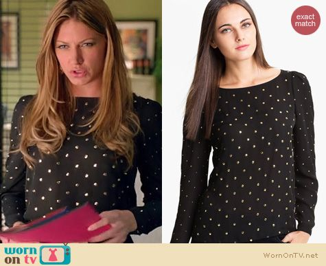 Mistresses Fashion: Vince Camuto Allover stud blouse worn by Jes Macallan