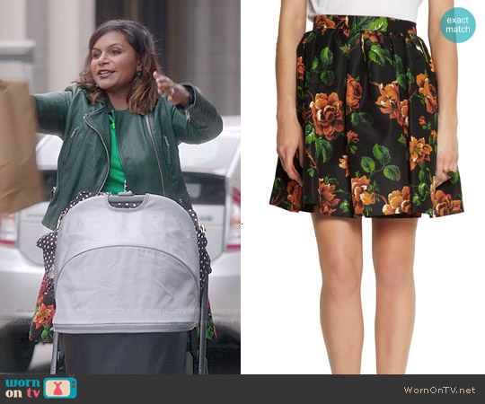 Miu Miu Floral Print Silk Faille Mini Skirt worn by Mindy Lahiri on The Mindy Project