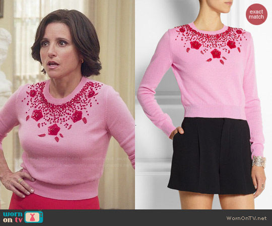Miu Miu Pink Embellished Cashmere Sweater worn by Julia Louis-Dreyfus on Veep