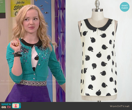 ModCloth Classy Collector Top in Hedgehog worn by Dove Cameron on Liv & Maddie