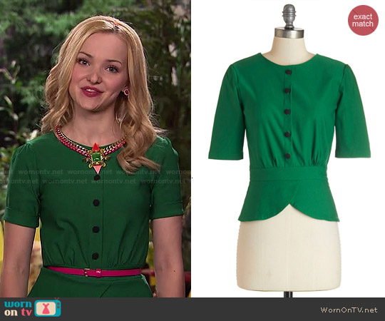 ModCloth Slate In the Day Top in Emerald worn by Dove Cameron on Liv & Maddie