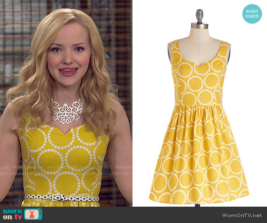 ModCloth Air of Adorable Dress in Dotted Gold worn by Dove Cameron on Liv & Maddie