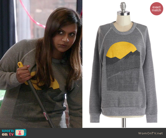 ModCloth Alpine Shine Sweatshirt in Stone worn by Mindy Kaling on The Mindy Project