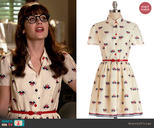 Wornontv jess s umbrella print dress on new girl zooey for Zooey deschanel wedding dress