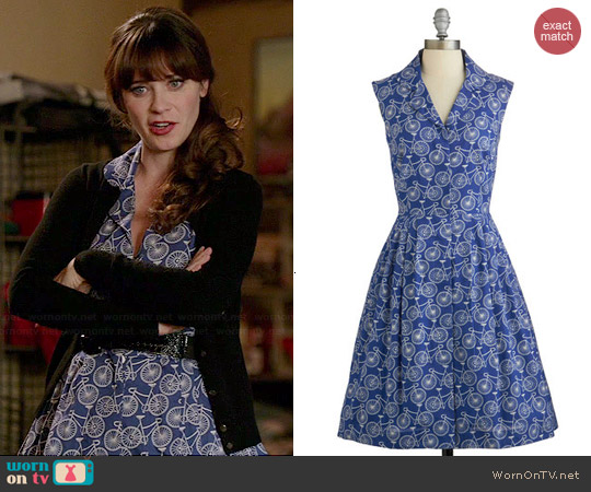 ModCloth Bake Shop Browsing Dress in Bicycles worn by Zooey Deschanel on New Girl