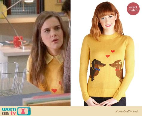 ModCloth Bea & Dot Wiener Takes All Sweater worn by Zoe Jarmon on The Mindy Project