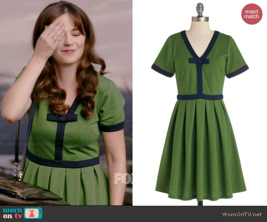 Dear Creatures Night Brunch Dress in Fern worn by Zooey Deschanel on New Girl
