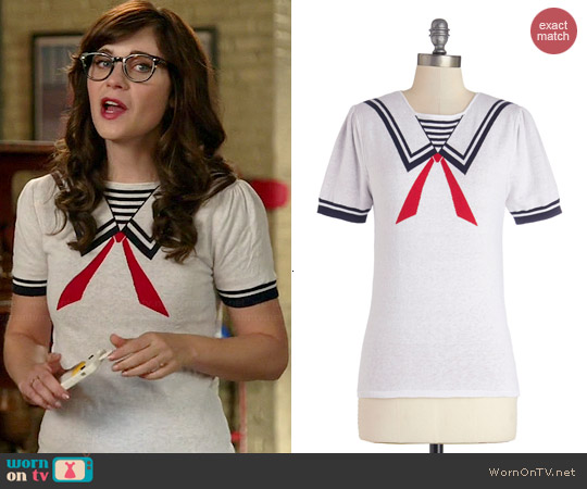 Dear Creatures Up for Adventures Sweater worn by Zooey Deschanel on New Girl