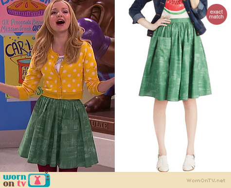 ModCloth Grass is Greenest Skirt worn by Dove Cameron on Liv & Maddie