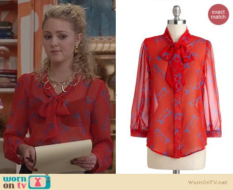 ModCloth Lash Before My Eyes Top in Frames worn by AnnaSophia Robb on The Carrie Diaries