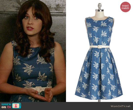 Modcloth Soaring Through The Day Dress Worn By Zooey Deschanel On New