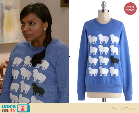 ModCloth Only Ewe Sweater worn by Mindy Kaling on The Mindy Project