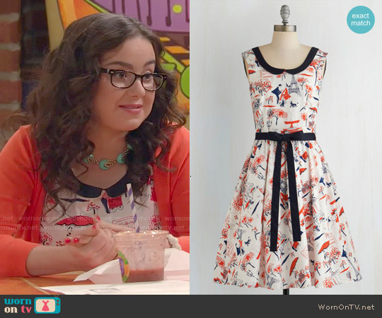 ModCloth Oui Are the World Dress worn by Sarah Gilman on IDDI