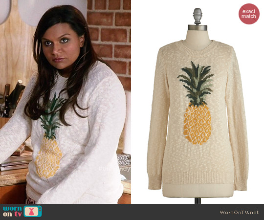 ModCloth Pineapple of My Eye Sweater worn by Mindy Kaling on The Mindy Project