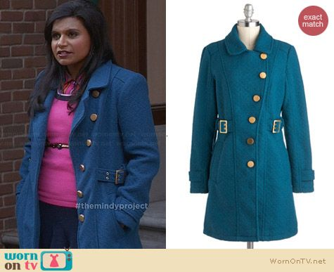 ModCloth Tokens of my Affection Coat worn by Mindy Kaling on The Mindy Project