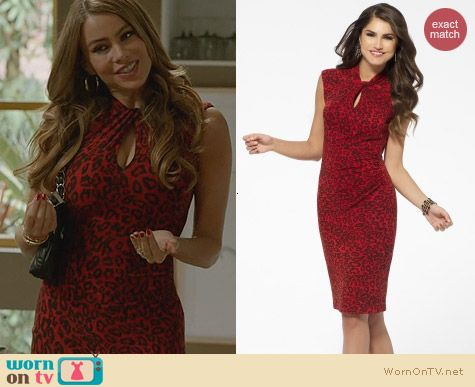 Modern Family Fashion: Cache Red Animal Print Dress worn by Sofia Vergara