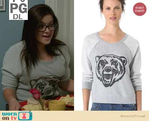 Modern Family Fashion: Free People Big Bad Varsity Sweater worn by Ariel Winter
