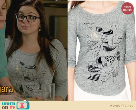 Fashion of Modern Family: J. Crew Funny Birds Tee worn by Ariel Winter