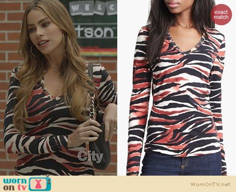 Modern Family Fashion: Just Cavalli Zebra Print Top worn by Sofia Vergara