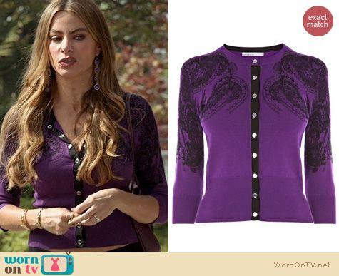 Modern Family Fashion: Karen Millen Lace Print Cardigan worn by Sophia Vergara