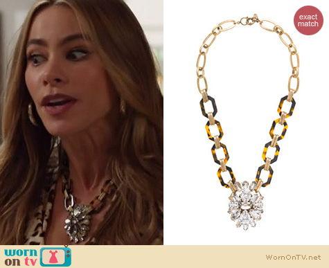 Modern Family Jewelry: J. Crew Tortoise and Crystal Pendant Necklace worn by Sophia Vergara