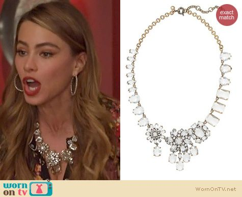 Modern Family Jewelry: J. Crew Crystal Collage Necklace worn by Sofia Vergara