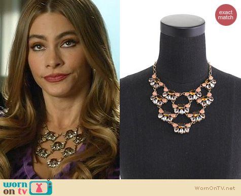 Modern Family Jewelry: J. Crew Tiered Stone Necklace worn by Sofia Vergara