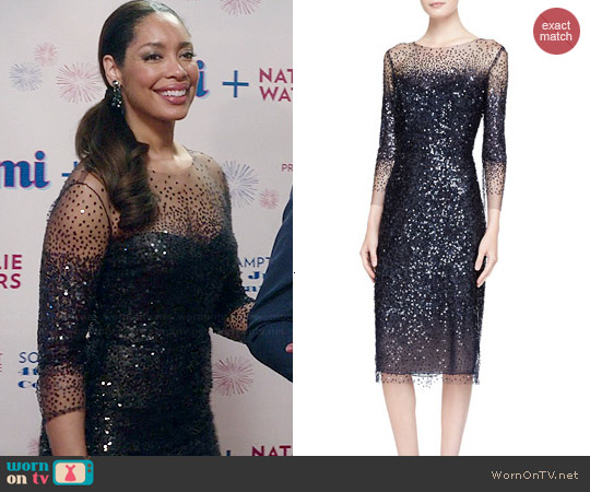 Monique Lhuillier 3/4-Sleeve Sequined Illusion-Trim Sheath Dress worn by Gina Torres on Revenge