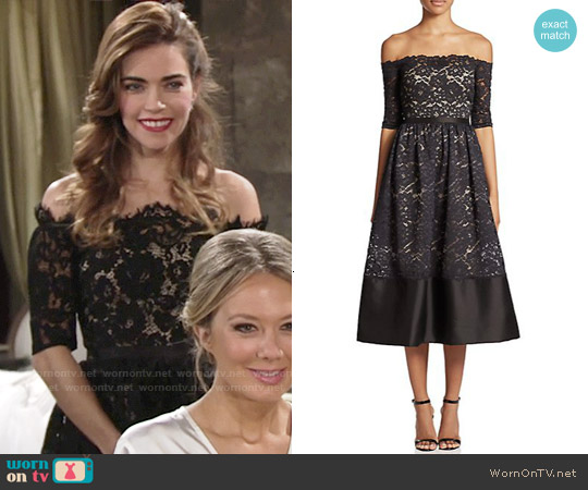 ML Monique Lhuillier Off Shoulder Lace Cocktail Dress worn by Amelia Heinle on The Young & the Restless